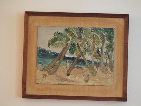 Beach Landscape, Palm Trees and Ocean, by Celia Dropkin