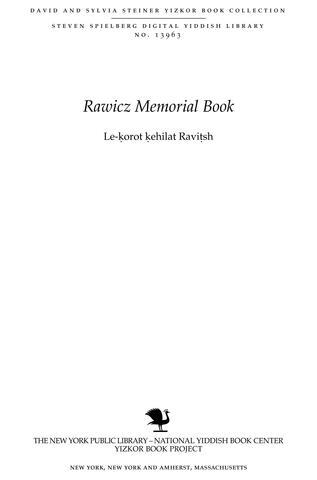 Thumbnail image for Le-ḳorot ḳehilat Raviṭsh