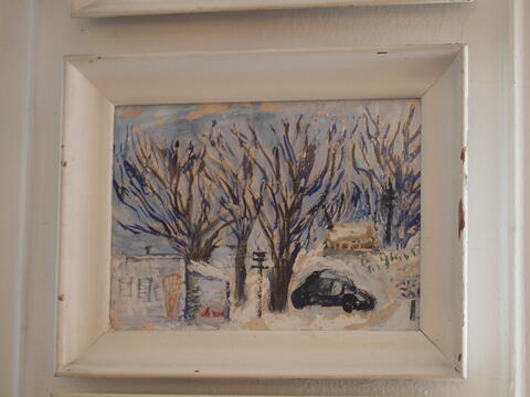 Landscape Painting of Snowy Scene, Trees, Cars, Buildings by Celia Dropkin