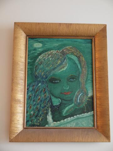 Blue-Green Portrait of a Woman