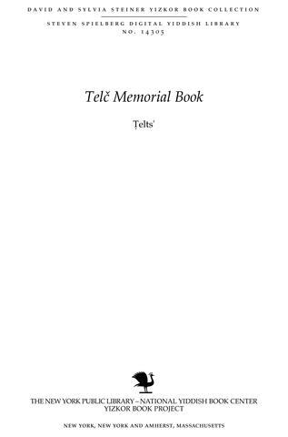 Thumbnail image for Telts' : toldot kehilah Yehudit be-mordot ha-Karpatim : yesodah