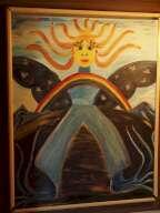 Painting of a Woman Made of Rivers, a Rainbow, and the Sun