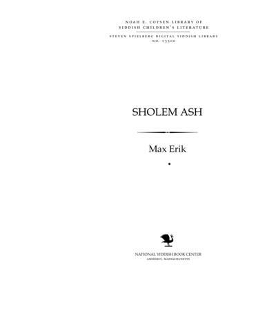 Thumbnail image for Sholem Ash, 1900-1930