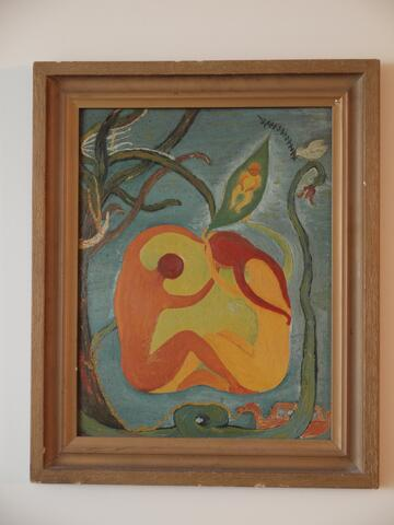 Abrstract Painting, Nude Couple with Child, Dove, Plants, Snake, Adam and Eve
