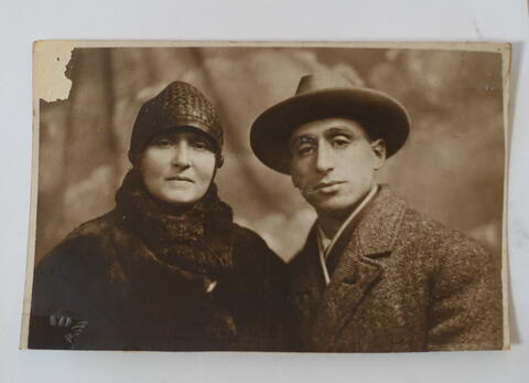 Kadya Molodowsky and husband SImkhe Lev-formal portrait in Europe