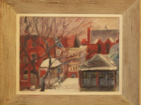 Landscape Painting of a Snow Covered Town by Celia Dropkin