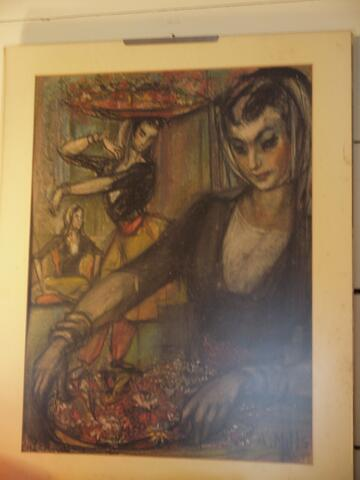 Painting of Noami Performing with Basket of Flowers
