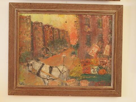 Painting of Horse and Buggie, Fruit Seller on Celia's Street in New York, by Celia Dropkin