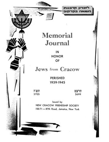 Thumbnail image for Memorial journal in honor of Jews from Cracow : perished 1939-1945