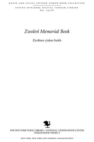 Thumbnail image for Zṿoliner yizker bukh