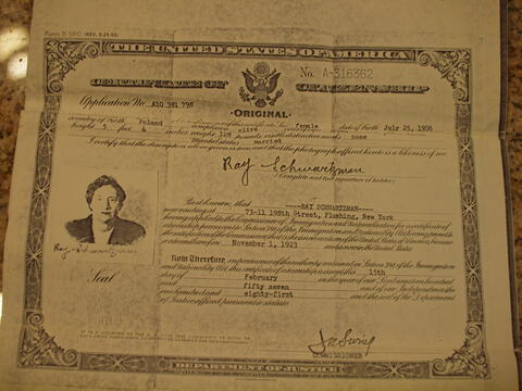 Helen Kurzban Document- Mother's Citizenship Papers