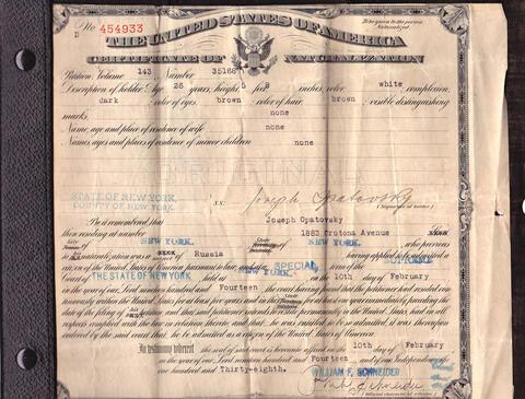 Opatoshu certificate of naturalization
