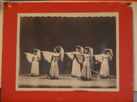 Photograph of Group Dance Performance, Five Performers in Unison