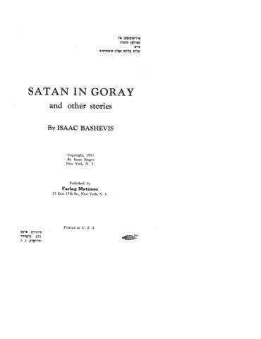 Thumbnail image for Der śoṭn in Goray : a mayse fun fartsayṭns un andere dertseylungen