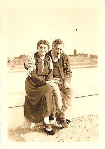 Sholem Asch and wife on ledge