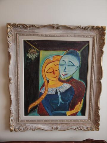 Painting Portrait of a Couple Embracing