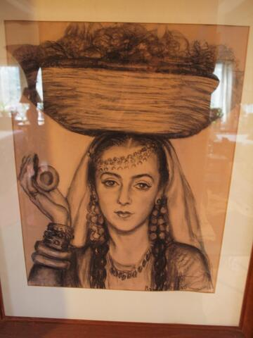 Drawing of Noami Performing with Basket Balanced on Her Head