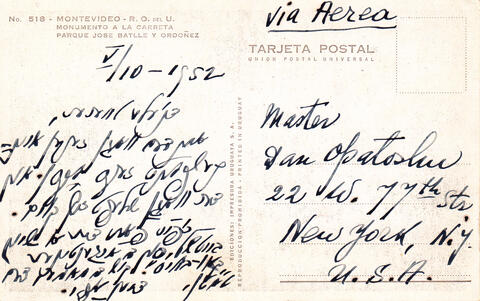 postcard to Dan from Yosef Opatoshu