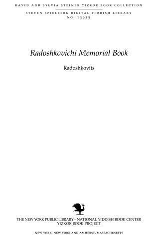 Thumbnail image for Radoshkovits : sefer zikaron