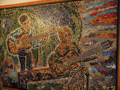 Tile Mosaic of Two Musicians