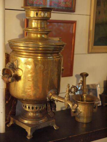 Gold Metal Vessel with Spout