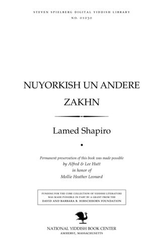 Thumbnail image for Nuyorḳish un andere zakhn