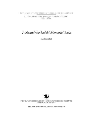 Thumbnail image for Aleksander (ʿa. y. Lodzʾ)