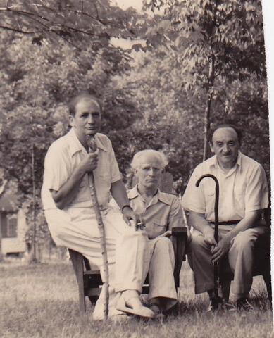 Glatz, Leivik, and Opatoshu with walking sticks