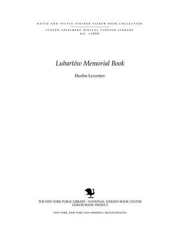 Thumbnail image for Hurbn Levertov : a matseyve Levertov un Levertover kdoyshim