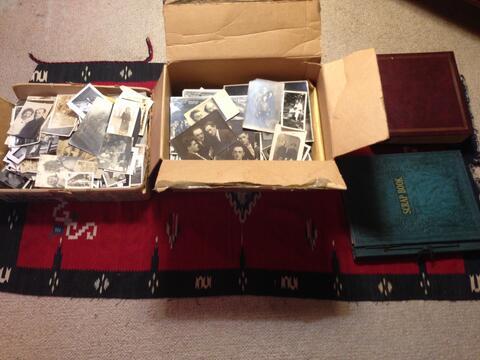 Dan's boxes of Opatoshu photos - open