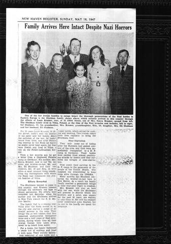 Family Arrives here Intact Despite Nazi Horrors New Haven Register Article May 1947