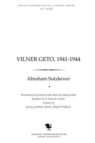 Thumbnail image for Ṿilner Geṭo, 1941-1944