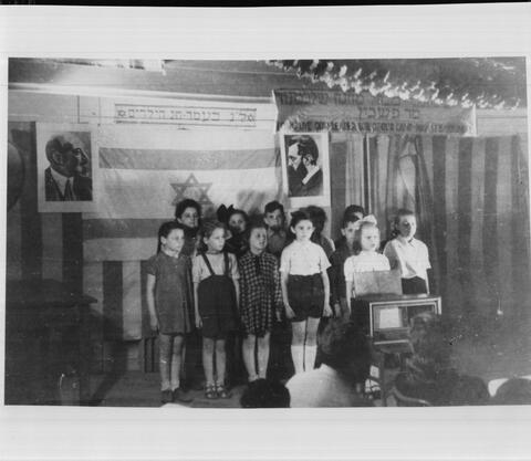 Hebrew Class Photo with Chaim Weizmann and Theodor Herzl pictures on Wall