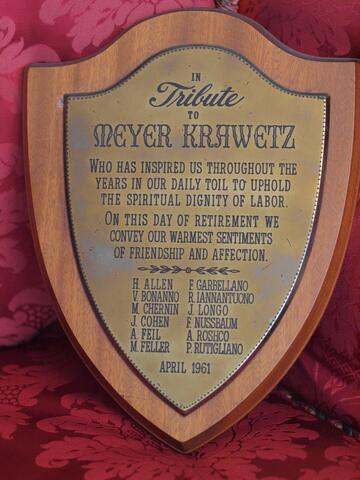 In Tribute to Meyer Krawetz Plaque