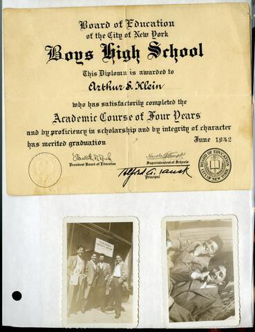 High School Diploma and two teenage photos