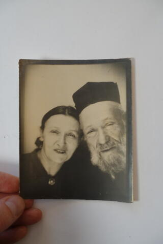 Kadya Molodowsky and father photobooth snapshot