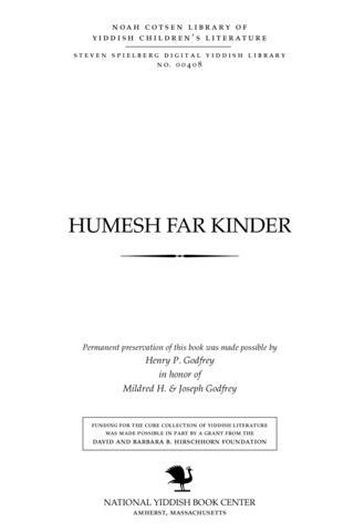 Thumbnail image for Ḥumesh far ḳinder loyt Yehoash