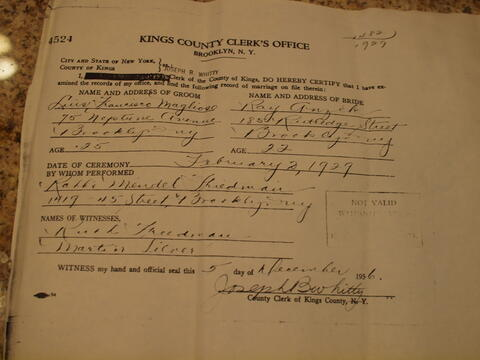 Helen Kurzban Document- Parent's Wedding License