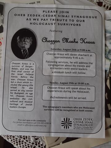Flier for Chazzan Moshe Kraus at Oheb Zedek-Cedar Sinai Synagogue in Ohio for Tribute to Holocaust Survivors