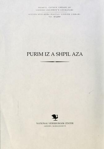 Thumbnail image for Purim iz a shpil aza