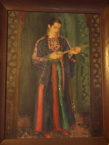 Painting of Noami Peforming with Instrument