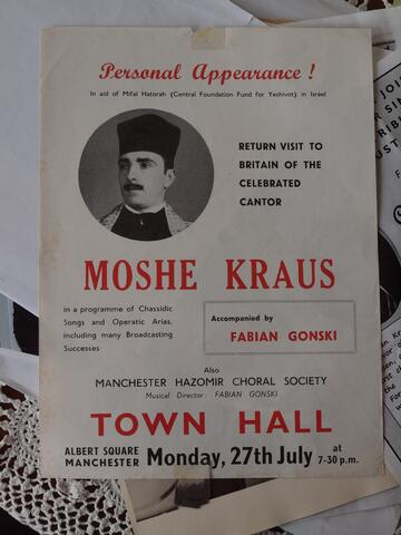 Flier for Moshe Kraus Return Visit to Britain, Town Hall Albert Square Manchester with Fabian Gonski and the Manchester Hazomir Choral Society