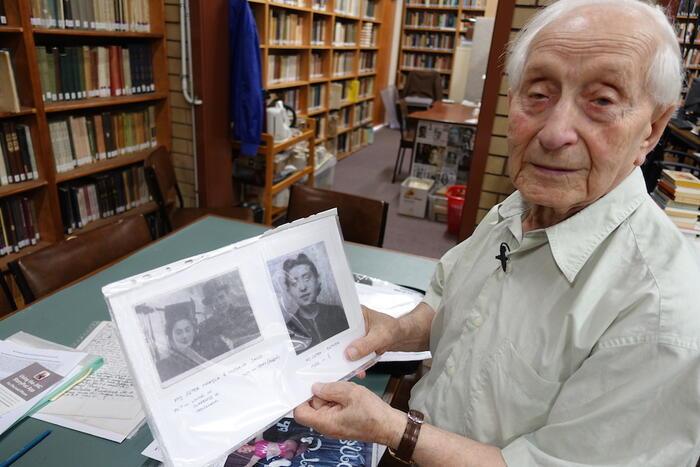 Abram Goldberg shows photos of his sister