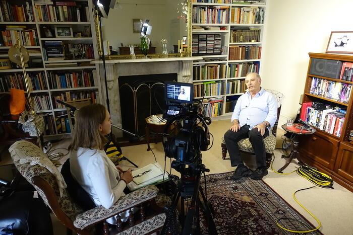Alex Dafner being interviewed in Melbourne
