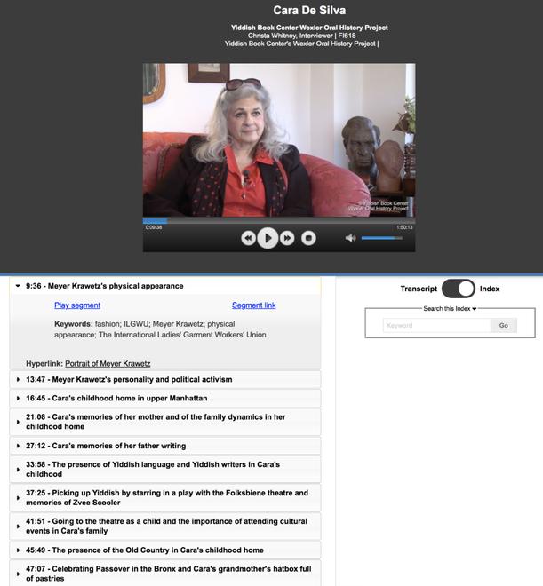 Example of Cara de Silva indexed interview