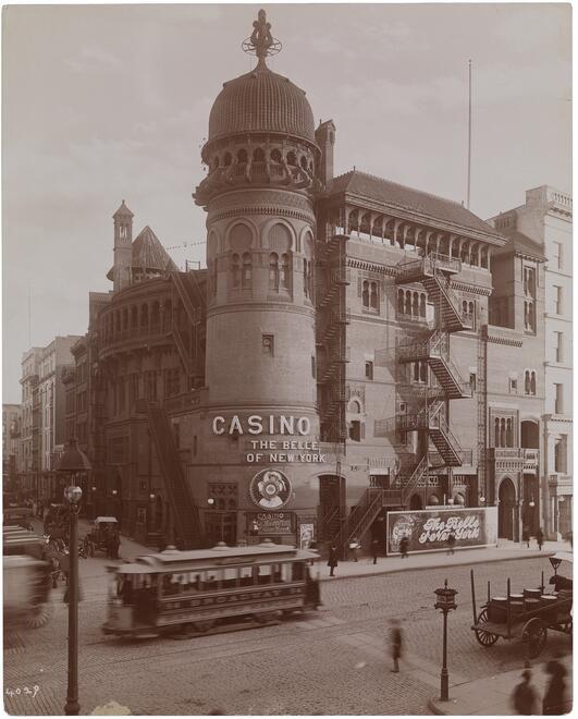 Sepia image of the Casino Theatre in New York, ca. 1910.