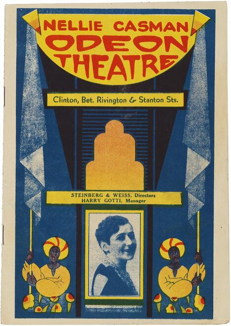 Cover of a program for a production of Gedemedzhte kinder (Damaged Children), opened March 6, 1931 at the Odeon Theatre.