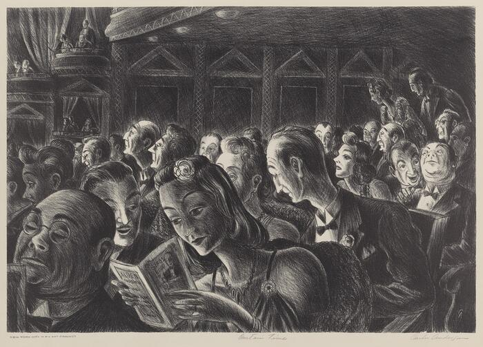 Picture of an audience at a theatre, created by Carlos Anderson, ca. 1935.