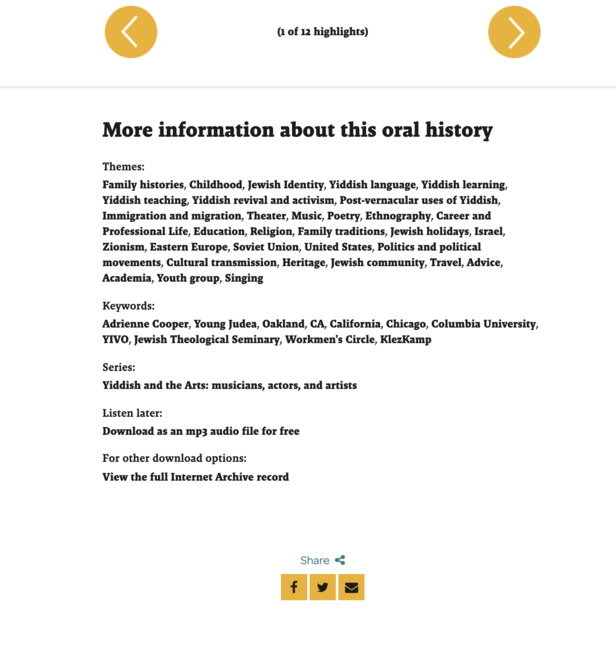 Screenshot of lower portion of Adrienne Cooper's oral history interview page, displaying themes, keywords, and additional download links.