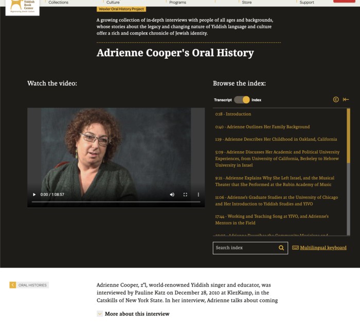 Screenshot of the top portion of Adrienne Cooper's Oral History Interview webpage, with video player on left and index on right